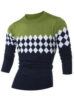 Modelo Del Diamante De Entonado De Colores Del Suéter De Cuello Redondo - Verde L