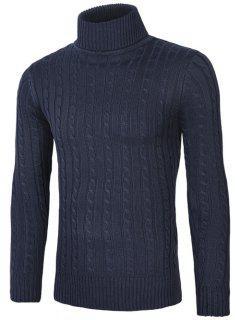 Roll Neck Kink Design Sweater - Cadetblue Xl