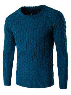 Textured Crew Neck Slim Fit Pullover Sweater - Lake Blue L