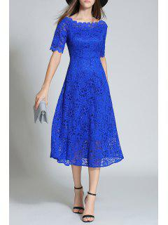 Bateau Neck Lace Tea Longueur Robe - Bleu S