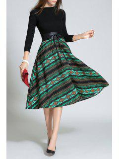 Knit Fit And Flare Print Dress - Black And Green L