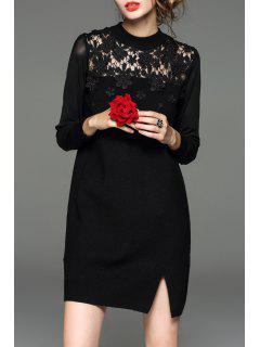 Con Paneles De Encaje Mini Vestido De Punto - Negro