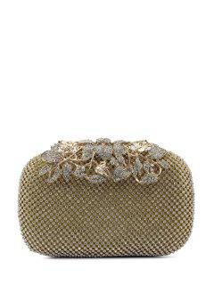 Rhinestone Trimming Metal Leaves Evening Bag - Golden