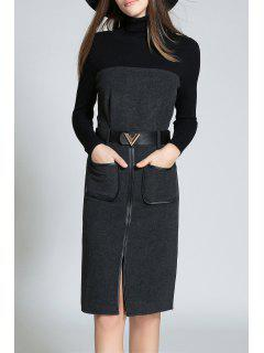 High Neck Long Sleeve Front Slit Sweater Dress - Deep Gray S