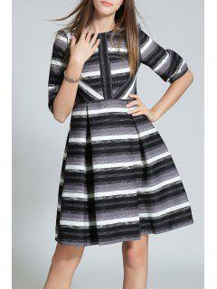 Color Block Stripe A Line Dress - Grey And White S