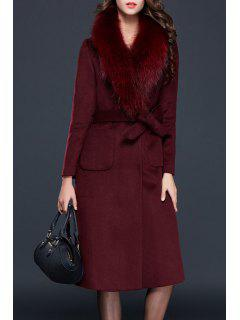 Faux Fur Collar Wool Blend Long Coat - Wine Red S