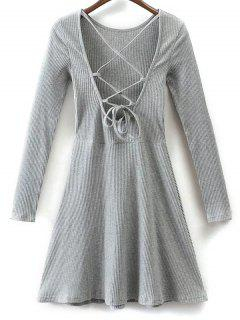 Lace Up Retour Robe Patineuse - Gris S