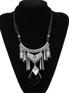 Faux Leather Braid Geometric Engraved Necklace - Silver And Black