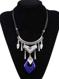 Faux Leather Braid Geometric Engraved Necklace - Sapphire Blue