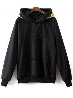 Embroidered Front Pocket Hoodie - Black L