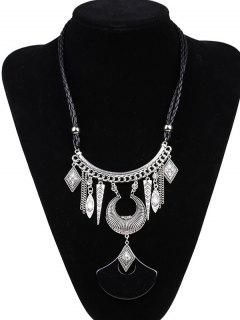 Faux Leather Braid Moon Engraved Necklace - Silver And Black