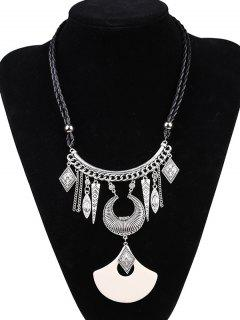 Faux Leather Braid Moon Engraved Necklace - Silver And White