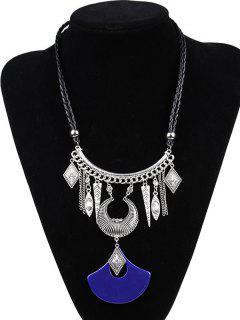 Imitación De Cuero De La Trenza Grabada Collar Luna - Azul De Zafiro