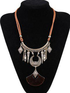 Faux Leather Braid Moon Engraved Necklace - Coffee