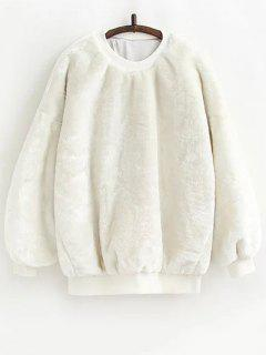 Faux Fur Sherpa Sweatshirt - White