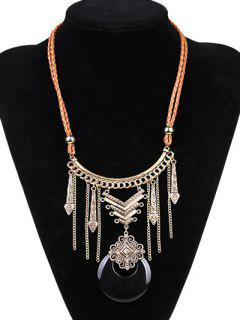 Faux Leather Moon Braid Engraved Necklace - Black And Golden