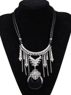 Faux Leather Moon Braid Engraved Necklace - Silver And Black