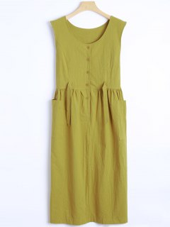 Sleeveless Single-Breasted Dress - Olive Green