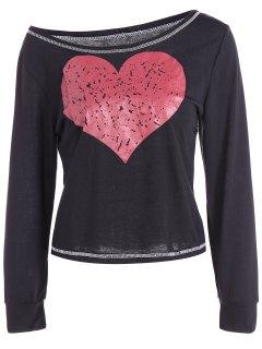 Motif Coeur Encolure Dégagée Recadrée T-shirt - Noir S