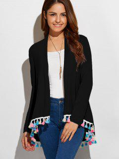 Colorful Fringe Cardigan - Black S