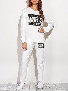 Sweatshirt Graphique Et Drawstring Sport Pantalons - Blanc S