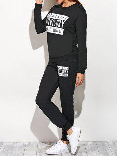 Graphic Sweatshirt And Drawstring Sports Pants - Black S