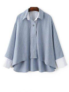 Striped High-Low Blouse - Light Blue S