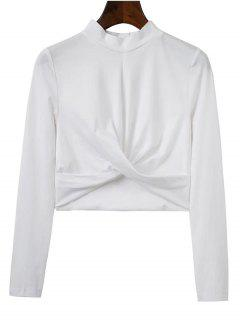 Cropped High Collar T-Shirt - White L