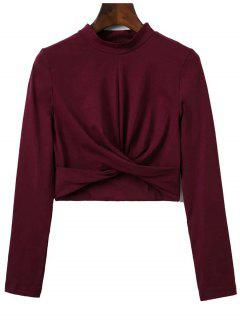 Cropped High Collar T-Shirt - Wine Red S