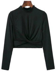 Cropped High Collar T-Shirt - Black S