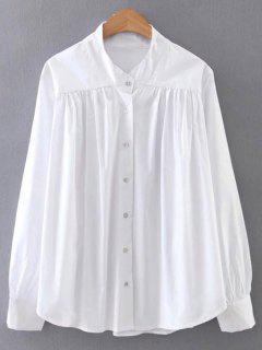 Pleated Stand Neck Shirt - White S