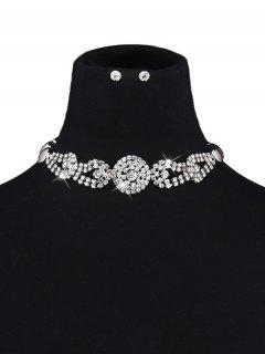 Rhinestoned Embellished Jewelry Set - White