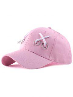 Casual Iron Ring Lace-Up Adjustable Baseball Cap - Pink
