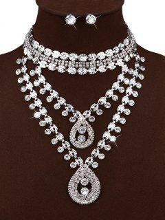 Rhinestone Water Drop Necklace And Stud Earrings - Silver