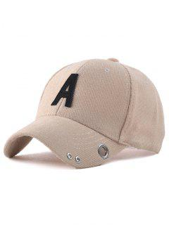 Casual Corduroy Stripe Lettres Adjustable Baseball Cap - Yellowish Pink
