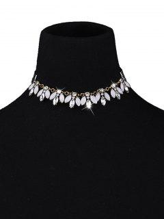 Gemstone Artificielle Velvet Collier Choker - Blanc