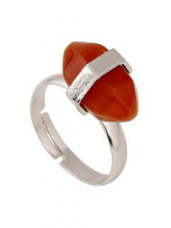 Oval Faux Gemstone Ring - Red