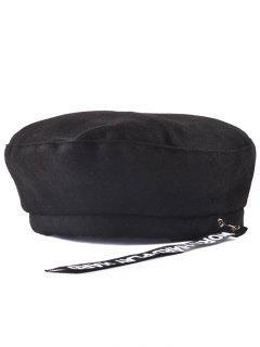 Casual Letters Strap Flat Top Beret Cap - Black