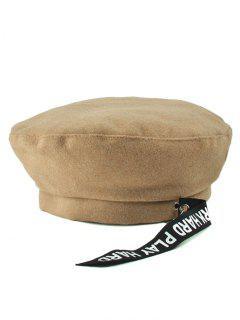 Casual Letters Strap Flat Top Beret Cap - Khaki