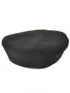 Casual Adjustable Flat Top Beret Cap - Black