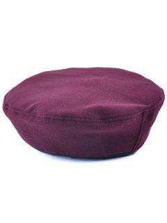 Casual Adjustable Flat Top Beret Cap - Wine Red
