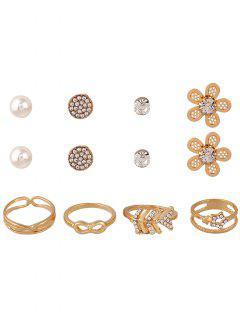 8PCS Rhinestone Jewelry Set - Golden