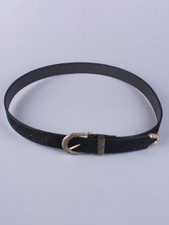Desgaste De Los Pantalones Embellecido Hebilla De Cinturón - Negro