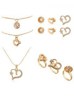9PCS Heart Rhinestone Jewelry Suit - Golden