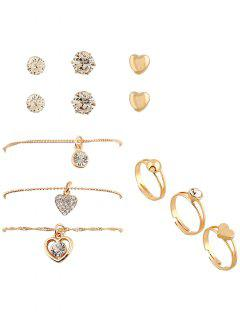 9PCS Concise Heart Rhinestone Jewelry Suit - Golden