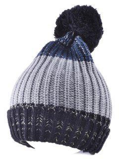 Casual Warm Big Ball Knitted Beanie - Gray