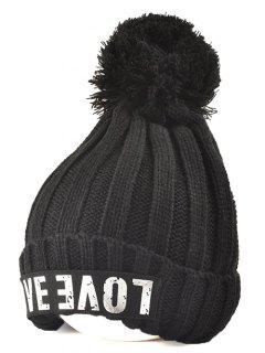 Casual Warm Big Ball Love Letter Knitted Beanie - Black