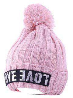 Casual Warm Big Ball Love Letter Knitted Beanie - Pink