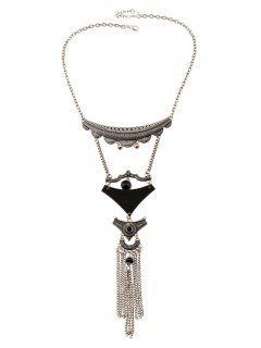Geometric Tassel Statement Necklace - Black