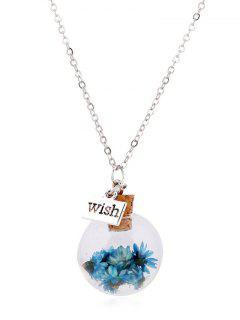 Flower Glass Bottle Pendant Necklace - Lake Blue